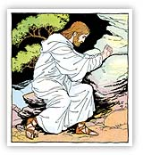Artist's depiction of Hazrat Isa praying in the Garden of Gethsemane