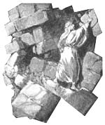 Artist's depiction of Nehemiah at the broken wall.